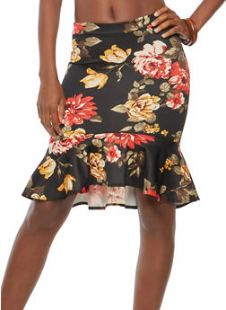 Rose Print Flounce Hem Pencil Skirt - 1062062415041