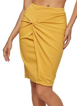 Knot Front Faux Wrap Pencil Skirt - 1062062415090
