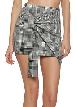 Plaid Tie Front Mini Skirt - 1062062415097