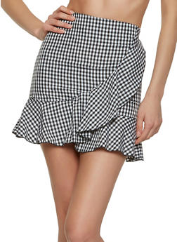 Gingham Faux Wrap Mini Skirt - 1062062415098