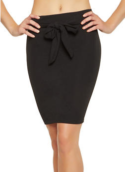 Tie Waist Pencil Skirt - 1062062415128