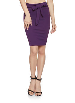Tie Waist Pencil Skirt - 1062062415128