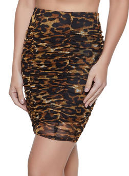 Ruched Mesh Mini Skirt - BROWN - 1062062415176