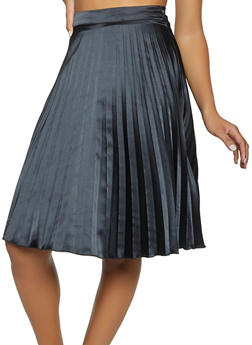 Satin Pleated Skater Skirt - 1062062415181