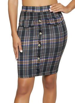 Button Front Plaid Pencil Skirt - 1062062415184