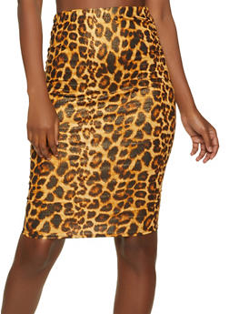 Ruched Animal Print Skirt - 1062062415187