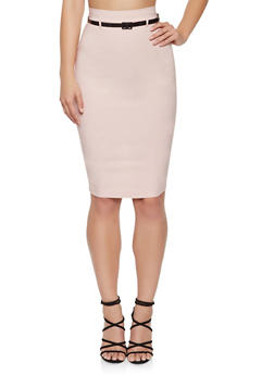 Back Slit Belted Pencil Skirt - 1062062701008