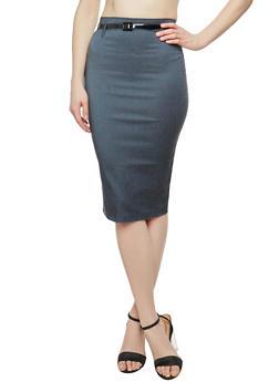 Back Slit Belted Pencil Skirt - 1062062701008