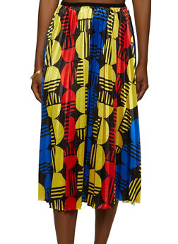 Abstract Circle Print Pleated Skater Skirt - 1062062702779