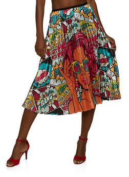 Pop Art Pleated Skirt - 1062062702781