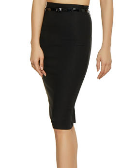 Belted Stretch Pencil Skirt - 1062062707172