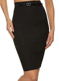 Back Slit Stretch Pencil Skirt - 1062062707271