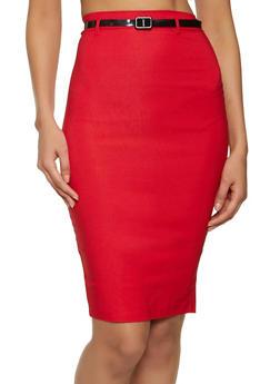 Back Slit Stretch Pencil Skirt - 1062062707271