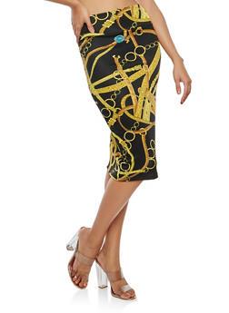 Soft Knit Chain Print Pencil Skirt - 1062063404824