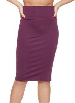 Solid Midi Pencil Skirt - 1062074011062