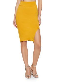High Waisted Midi Pencil Skirt - 1062074011515