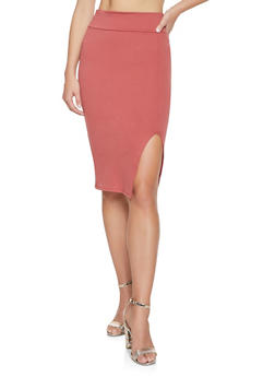 High Waisted Midi Pencil Skirt - 1062074011515