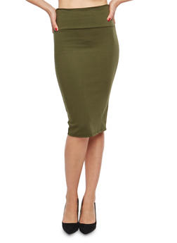 Pleated Stretch Pencil Skirt - 1062074011521