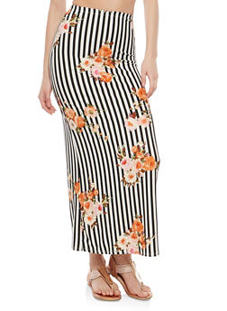 Soft Knit Border Print Maxi Skirt - BLACK/WHITE - 1062074011532