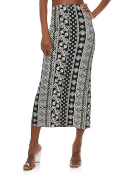 Soft Knit Border Print Maxi Skirt - WHT-BLK - 1062074011532