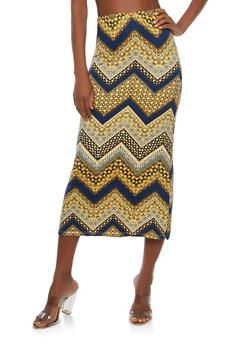 Soft Knit Border Print Maxi Skirt - NAVY - 1062074011532
