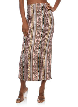 Soft Knit Border Print Maxi Skirt - 1062074011532