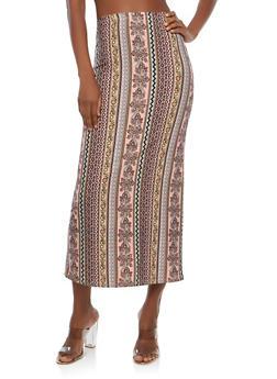 Soft Knit Border Print Maxi Skirt - MAUVE - 1062074011532