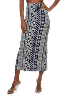 Soft Knit Border Print Maxi Skirt - DENIM - 1062074011532