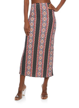 Soft Knit Border Print Maxi Skirt - TAUPE - 1062074011532