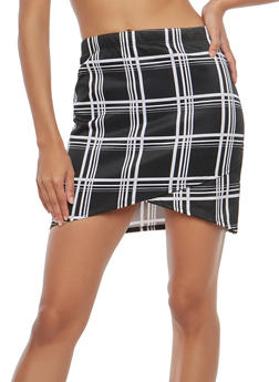 Windowpane Print Faux Wrap Mini Skirt - 1062074011533
