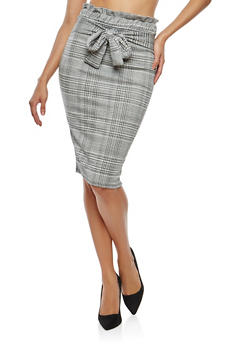 Plaid Paperbag Waist Pencil Skirt - 1062074011547