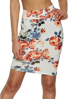 Soft Knit Printed Pencil Skirt - 1062074011549
