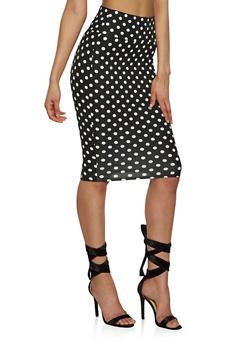 Soft Knit Printed Pencil Skirt - BLACK/WHITE - 1062074011549