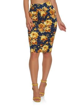 Soft Knit Printed Pencil Skirt - NAVY - 1062074011549