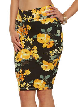 Soft Knit Printed Pencil Skirt - 1062074011549