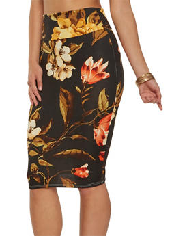 Soft Knit Printed Pencil Skirt - MUSTARD - 1062074011549