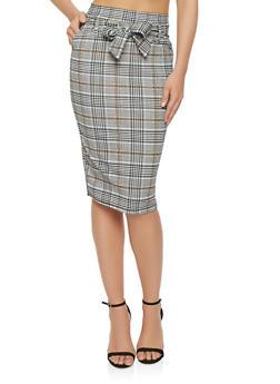 Plaid Tie Front Pencil Skirt - 1062074011552