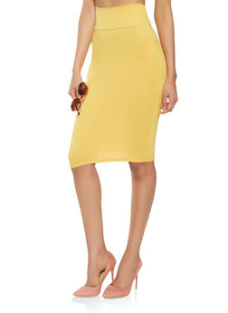 Soft Knit Midi Pencil Skirt - 1062074011553