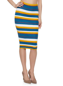 Striped Ribbed Knit Pencil Skirt - 1062074011562
