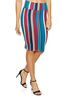 Striped Soft Knit Pencil Skirt - 1062074011563