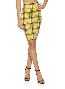 Plaid Pencil Skirt - 1062074011573