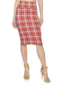 Plaid Pencil Skirt - 1062074011573