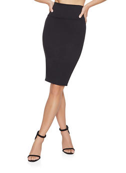 Ponte Knit Pencil Skirt - 1062074011575
