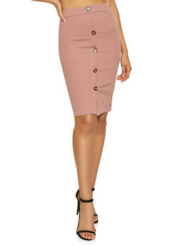 Button Detail Pencil Skirt - 1062074011577