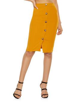 Button Detail Pencil Skirt - 1062074011577