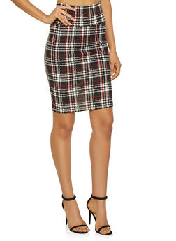 High Waisted Plaid Pencil Skirt - 1062074011578