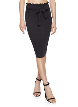 Paper Bag Waist Pencil Skirt - 1062074011579
