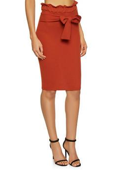 Paper Bag Waist Pencil Skirt - 1062074011579