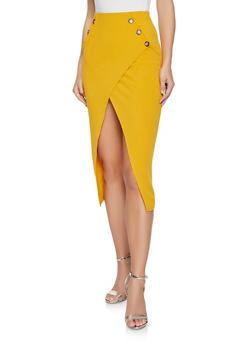 Asymmetrical Midi Pencil Skirt - 1062074011580