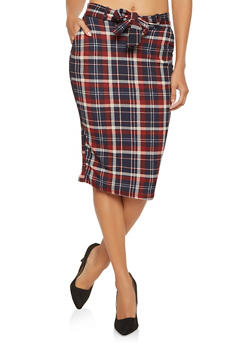 Tie Front Plaid Pencil Skirt - 1062074011581
